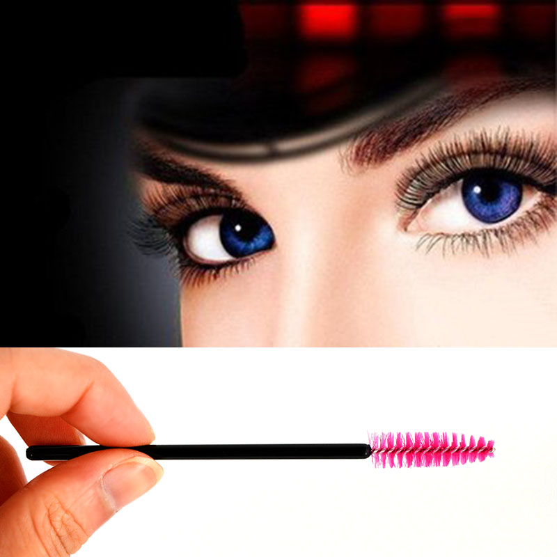 Synthetic Fiber Makeup Mascara Pink Disposable Eyelash Brush