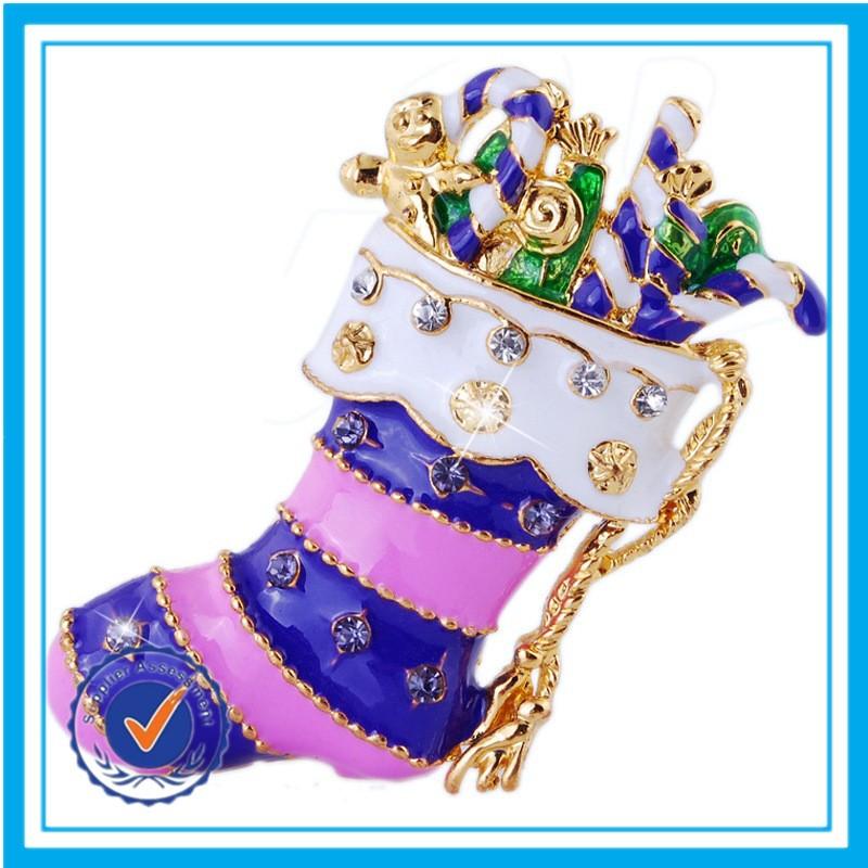 New style christmas stocking brooch to wedding dress custom made