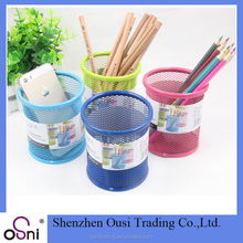 Promotional gift creative round pencil vases mesh wire desk organizer