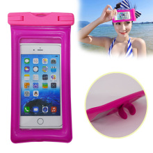 hot selling amazon clearly pvc water proof phone bag with one touch stand