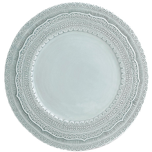JK ceramics hot selling 13 inch wedding charger <strong>plates</strong>, fine porcelain lace embossed charger <strong>plate</strong>