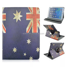 Australian flag printing leather case, 360 degree rotation stand case for ipad 5