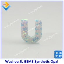 8.7*10mm U letter pendant with synthetic opal op17 fire white color for alphabet jewelry