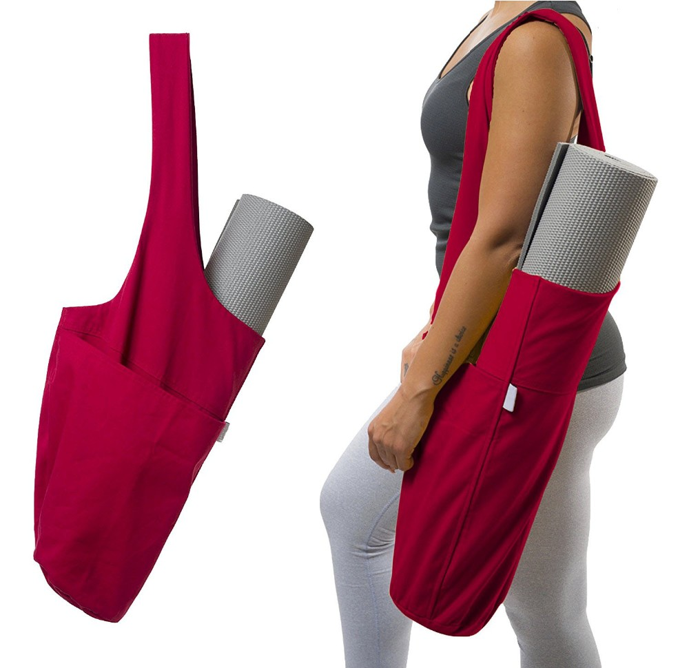 Wholesale custom large capacity printed canvas sling yoga mat bags for large yoga mats