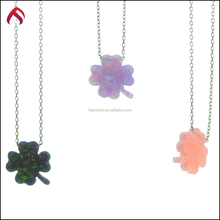 Fashion jewelry 925 sterling silver Four Leaf Clover shape opal necklace/pendant