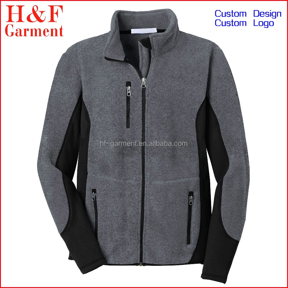 Outdoor mens warm clothing for cold weather polar fleece jacket grey