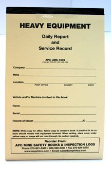 Mine Safety Inspection Books:APC UMS-1009: Heavy Equipment Daily Report and Service Record, 2-Part