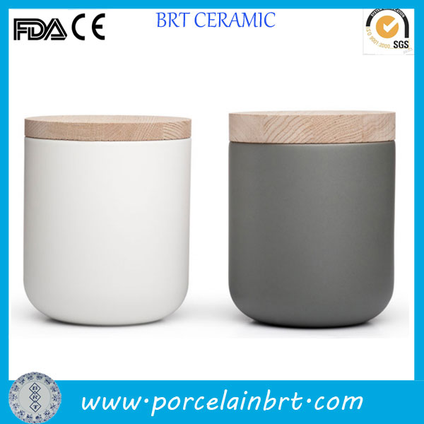 Custom design ceramic jar with wooden lid