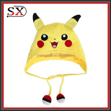 OEM cute soft plush toy Pokemon Go Pikachu Hat with pom pom balls hat