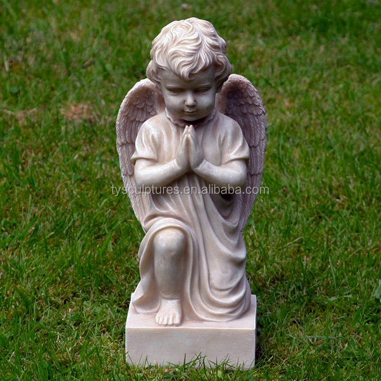 Hot sale China factory stone little boy garden praying angel statues