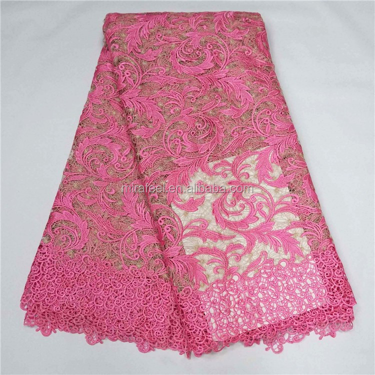 High Quality Elastic 3d gold flower french Lace for Women's dress LC248-2