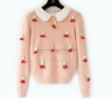 fashion woman knit sweater handmade ornament bright color pullover OEM & ODM be welcome