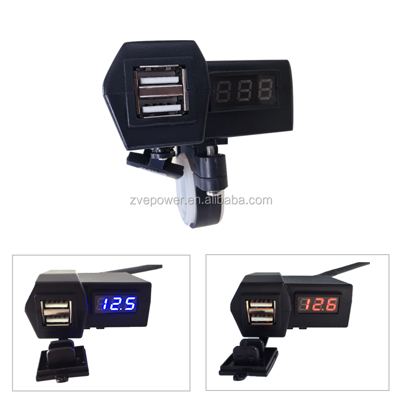 12V to 5V 2 in 1 waterproof USB vehicle charger voltage meter display voltmeter for motorcycle