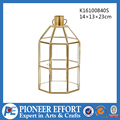 Copper color geometric glass inside copper lantern