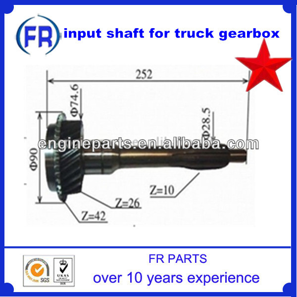 input shaft for truck gearbox