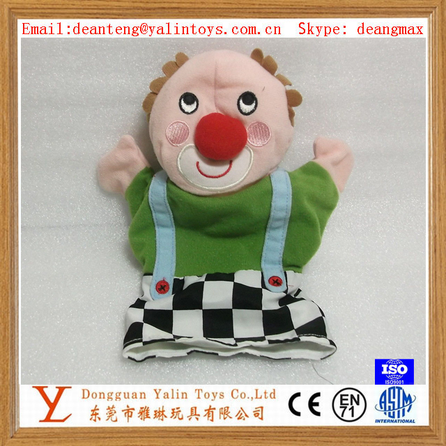 plush Clown hand puppet doll toys