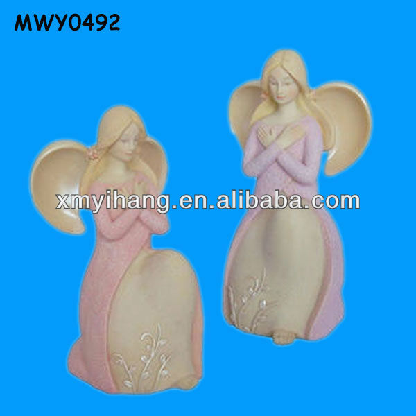 Decorative unique praying charming pink Resin Angel Figurines