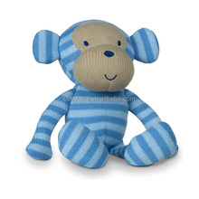 Custom blue monkey stuffed animal knitted toy