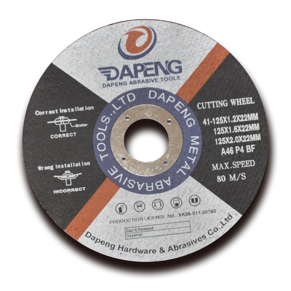 125x2x22mm Abrasives cutting disc stainless steel purpose