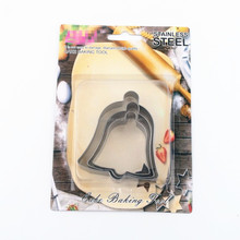 RF-S13 Custom designs bell shapes tin plate 3pcs bell cookie cutters with FDA FGB certificate