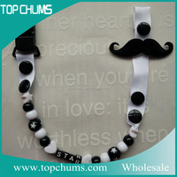 Promotional fashion cheap custom baby pacifier clip mustache pacifier