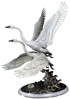 2016 home decorations antique metal crafts bronze swan white