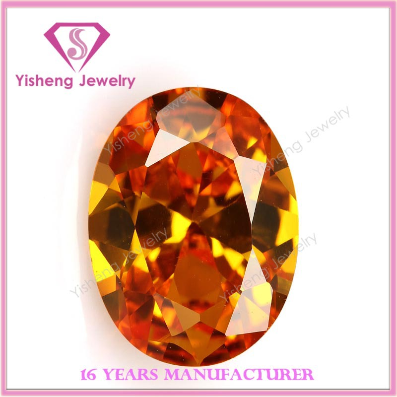 Oval Shape Orange Gemstone Faceted Machine Cut Zircon Cubic Zirconia