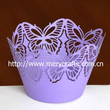 "2012 hot! laser cut ""big butterfly"" cupcake wraps nice wedding favor"