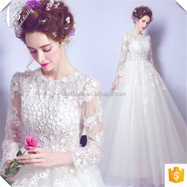 China Suzhou Vestido de Casamento Bridal Gown 2016 Long Sleeves Bride Wedding Pattern Ball Gown Wedding Dresses