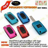 Topbest new type colorful car key cover for citroen/peugeot key key cover peugeot 307