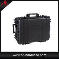 Black dustproof moistureproof foam storm plastic case with handle