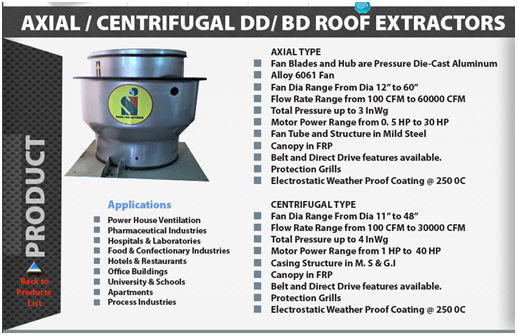Axial/Centrifugal DD/BD ROOF EXTRACTORS