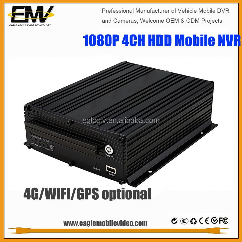 EMV 4 Channel IP 1080P camera mobile dvr car tracking NVR with 3G GPS WIFI G-Sensor 2TB