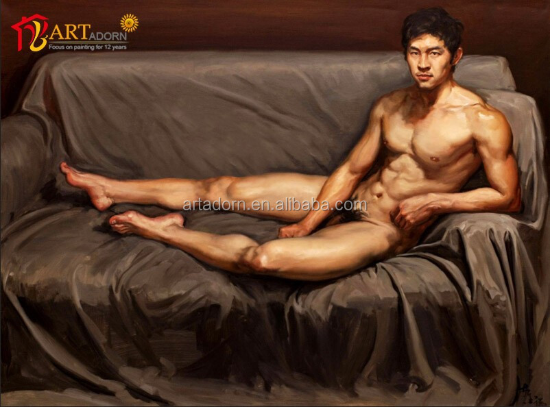 Modern art nude male body painting