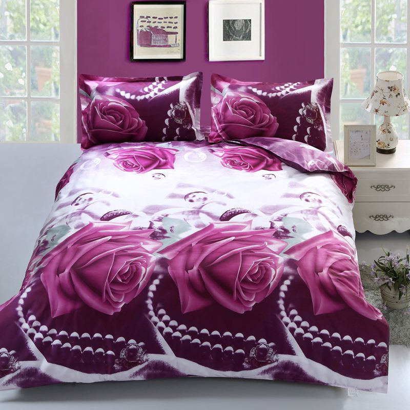 Free Shipping Flower 3D bedding Set 4Pcs Duvet Cover Set Bedclothes Bed In A Bag Include Bed Sheet Duvet Cover Pillowcase
