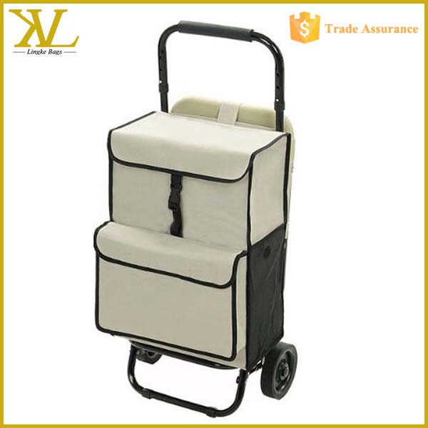 Customize Folding Shopping Cart With Seat, Shopping Trolley Bag Tote