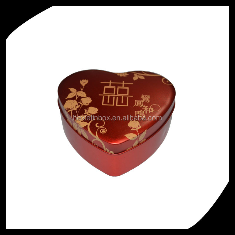 Custom size heart shape gift metal tin box/heaart shpe candy ring tin box/heart-shaped metal tin cans