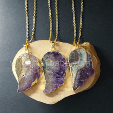 WT-N756 Top quality 24k real gold electroplated Amethyst stone necklace, Rough Amethyst raw mineral Amethyst Boho necklace