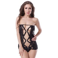 New design transparent black lace babydoll women hot transparent sexy chemise