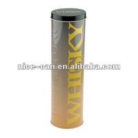 Tall Round Metal Tin Box For Whisky Packaging