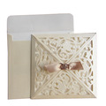Ivory Vintage Pocket with Accessory Wholesale Laser Wedding Invitations
