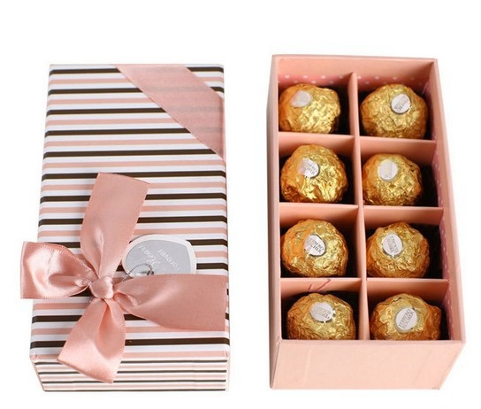 custom FERRERO chocolate box with divider paper silk ribbon