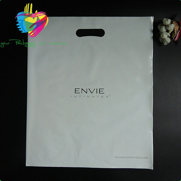 chian wholesale Custom logo die cut handle bag PE plastic shopping bag