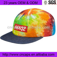 Mix Color Leather 5 Panel Caps With Woven Label Patch On Front And Custom Five/5 Panel Hats Camper Cap Camping