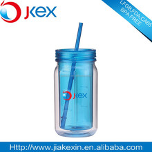 Wholesale double wall color]ful new plastic mason jar with lid, pouplar