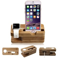 2 in1 phone wooden charging stand for apple watch