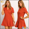 Ecoach fashion women v-neck drop waist red designer one piece party dress red dress