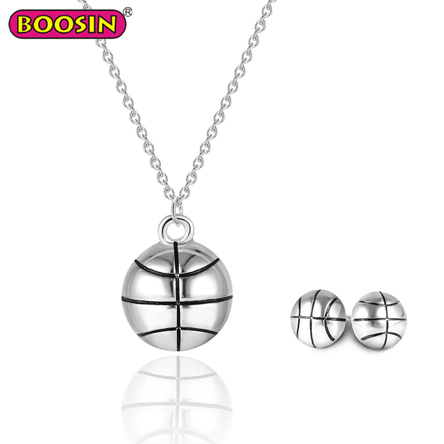 Silver Basketball Charm Necklace Set Earrings Sport Jewelry Wholesale