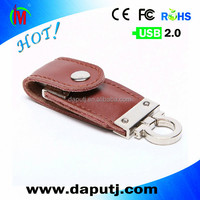 popular button 8GB leather usb flash drive with keychain with custom logo shenzhen factory