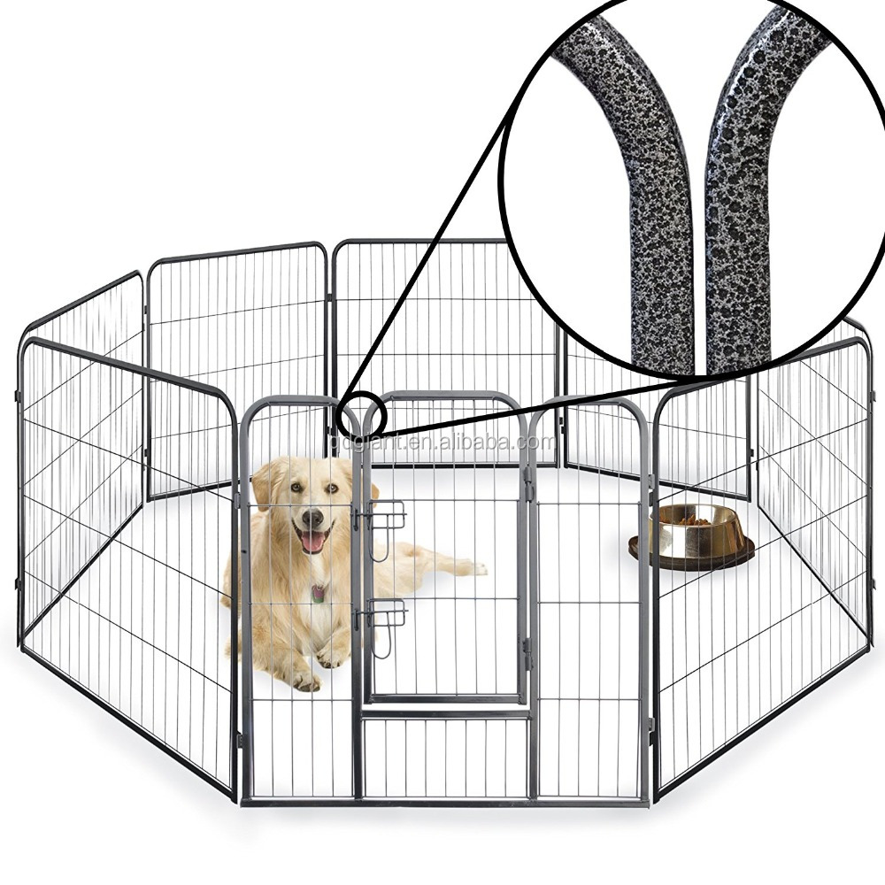 8 Side 60cm, 80cm, & 100cm Tall Heavy Duty Strong Pet Playpen Dog Puppy Cage Folding Fence